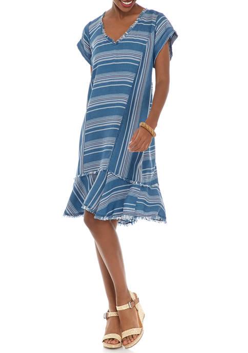 Womens Chambray Striped Dress
