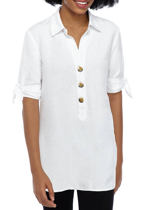 Womens Button Front Linen Tunic