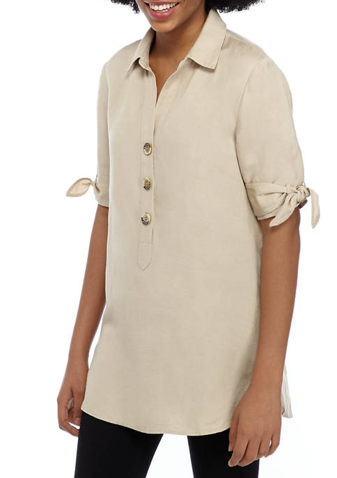 philosophy Womens Button Front Linen Tunic
