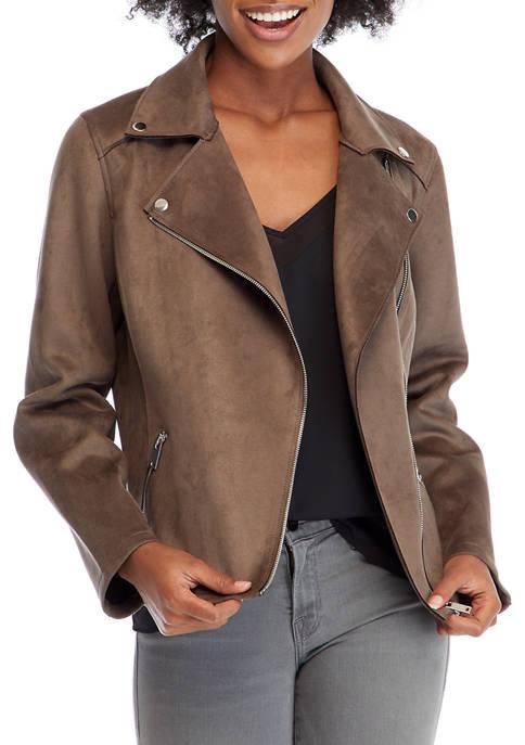 Womens Faux Suede Moto Jacket