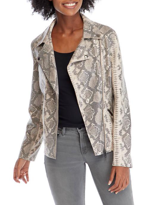 philosophy Womens Faux Suede Python Moto Jacket