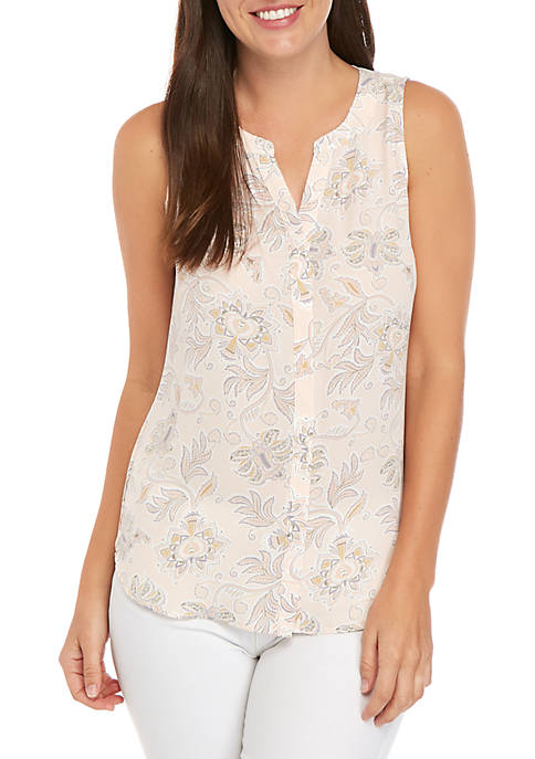 Woven Button Front Tank