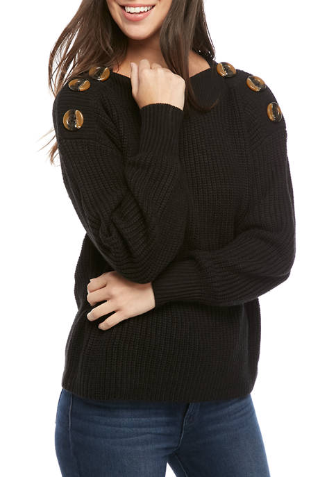 Womens Button Neck Pullover