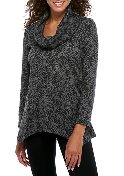 Womens Python Jacquard Cowl Neck Pullover