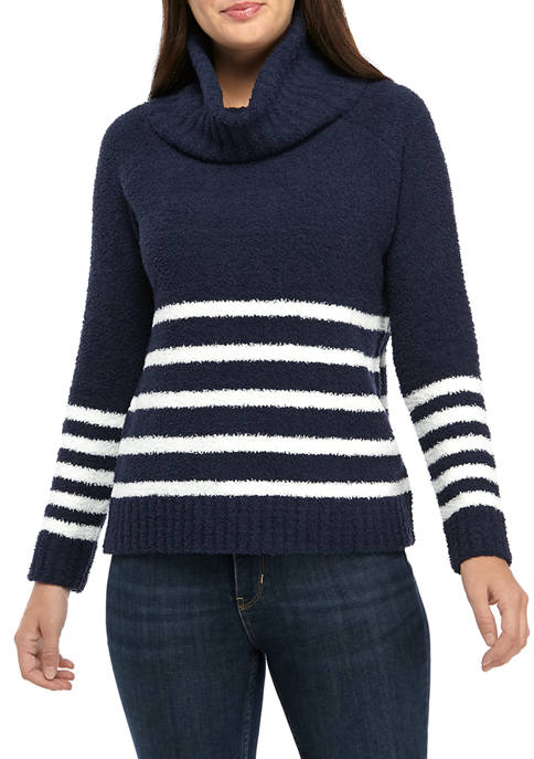 Womens Polyester Striped Long Sleeve Sweater