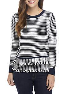 Grace Elements Striped Double Ruffle Trim Sweater