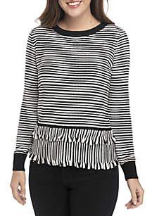 Striped Double Ruffle Trim Sweater