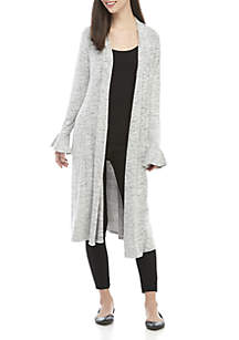 Long Sleeve Open Front Ribbed Duster