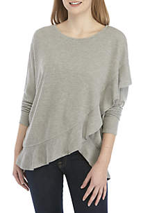 Grace Elements 3/4 Sleeve Textured Ruffle Top