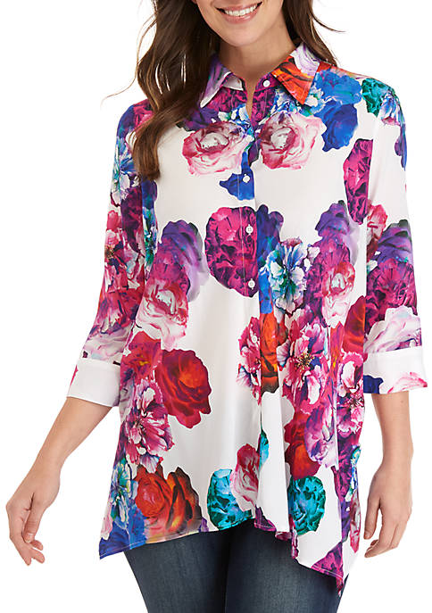 Grace Elements 3/4 Sleeve Floral Shark Bite Button