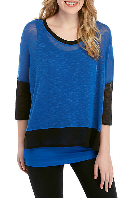 Grace Elements 3/4 Sleeve Color Block 2Fer Top