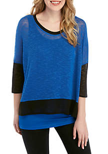 Grace Elements 3/4 Sleeve Color Block 2Fer Top