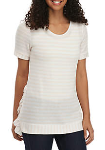 Grace Elements Short Sleeve Stripe Textured Top with Ruffles