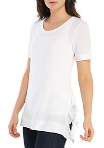 Grace Elements Short Sleeve Textured Top with Side Ruffles