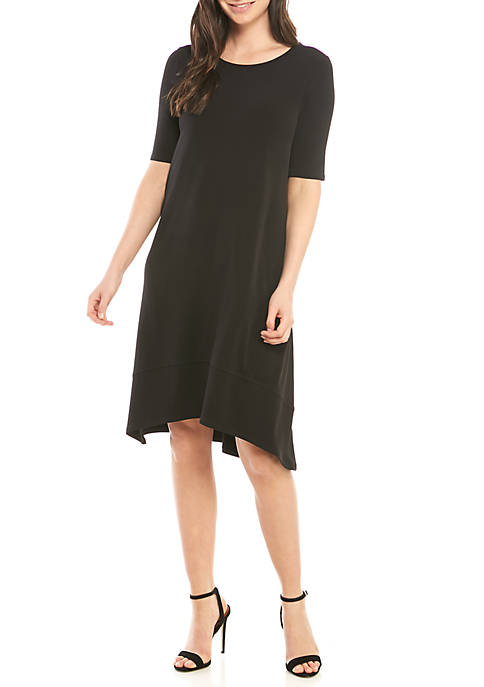 Elbow Sleeve Solid Dress