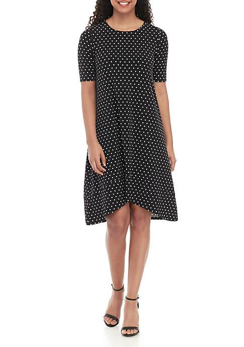 Elbow Sleeve Dot Dress