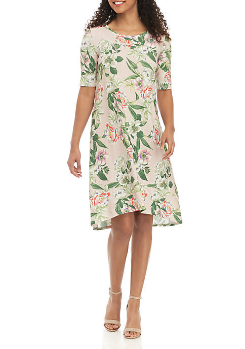 Botanical Garden Print Short Sleeve Dress