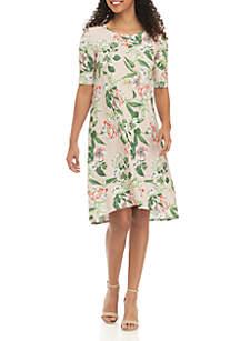 578cbe366bb Grace Elements Botanical Garden Print Short Sleeve Dress