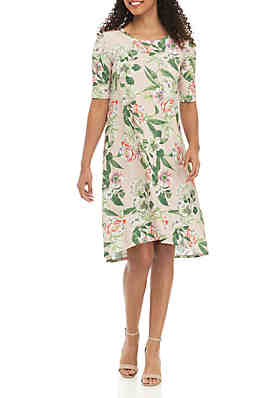 23eb06150229a Grace Elements Botanical Garden Print Short Sleeve Dress ...