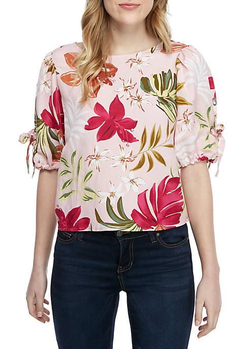 Grace Elements Short Sleeve Floral Linen Blouse