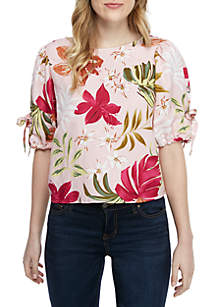 Grace Elements Short Sleeve Floral Linen Blouse