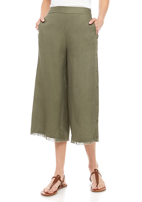 Pull On Linen Pants With Button Details
