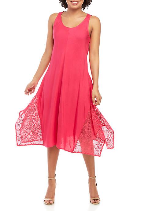 Sleeveless Linen Dress with Lace Hem