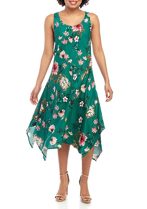 Printed Sleeveless Linen Dress
