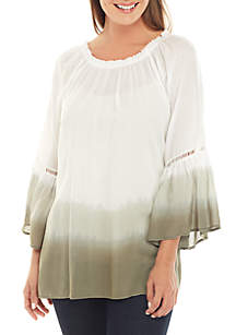 Grace Elements 3/4 Bell Sleeve Dip Dye Ombre Top