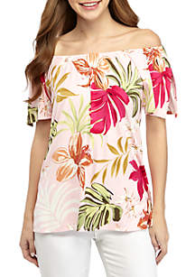 Grace Elements Short Sleeve Floral Knit Top