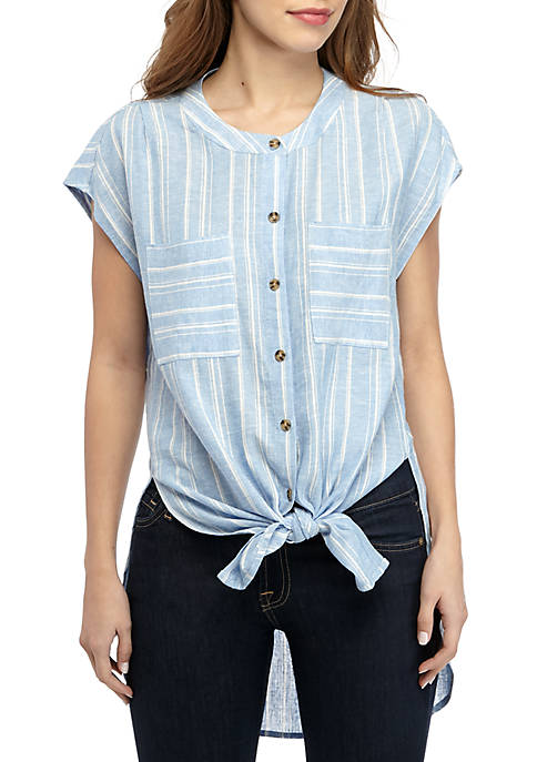 Grace Elements Short Sleeve Stripe Linen Shirt