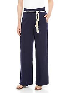 Grace Elements Solid Linen Pants with Belt