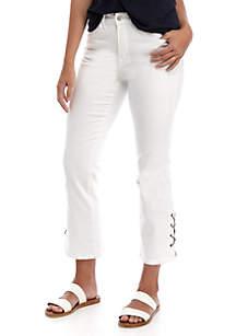 Grace Elements Solid Grommet Detail Pants