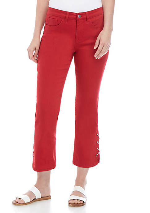 Solid Grommet Detail Pants