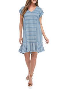 Grace Elements Directional Stripes Short Cap Sleeve Dress with Peplum Hem