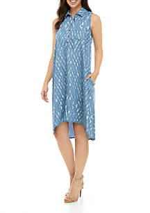 Grace Elements Distressed Ikat Sleeveless Button Front High Low Dress