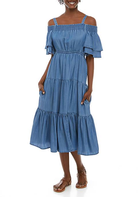Off the Shoulder Wide Smocked Neck Dress