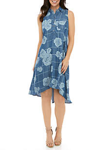 Grace Elements Rose Grid Sleeveless Button Front High Low Dress
