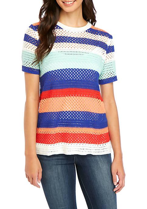 Short Sleeve Multi Stripe Sweater