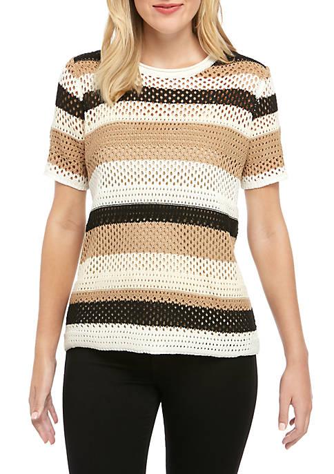 Grace Elements Short Sleeve Multi Stripe Sweater