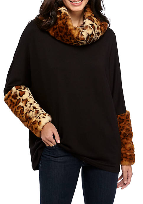 Fur Trim Neck and Sleeve Sweater