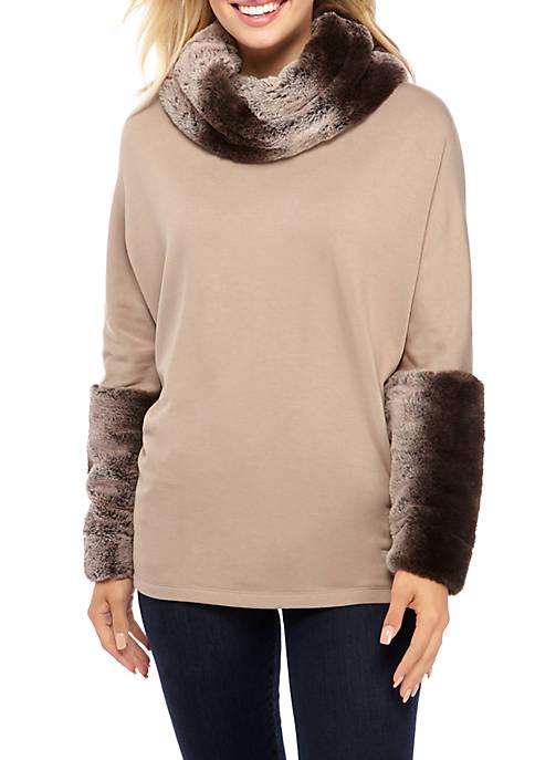 Faux Fur Trim Sweater
