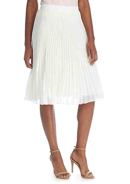 Grace Elements Solid Pleated Skirt ...