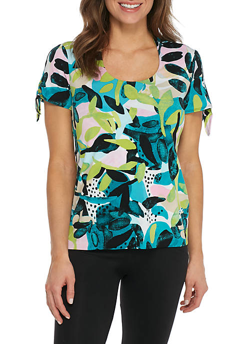 Grace Elements Short Sleeve Horshoe Print Top with
