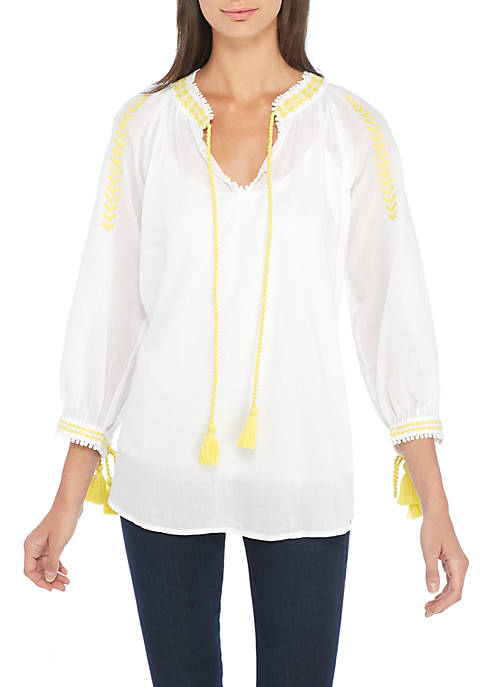 Grace Elements Long Sleeve Split Neck Embroidered Top