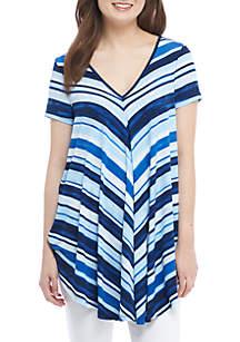 Short Sleeve Bold Stripe Double V-Neck Swing Top