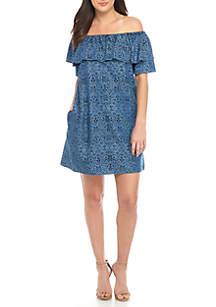 Off-The-Shoulder Indigo Ikat Dress