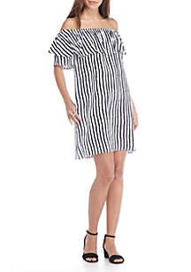 Off-tThe-Shoulder Tidal Stripe Dress