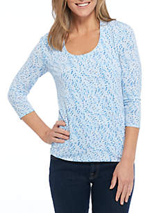3/4 Sleeve Spring Burst Print Knit Horseshoe Top