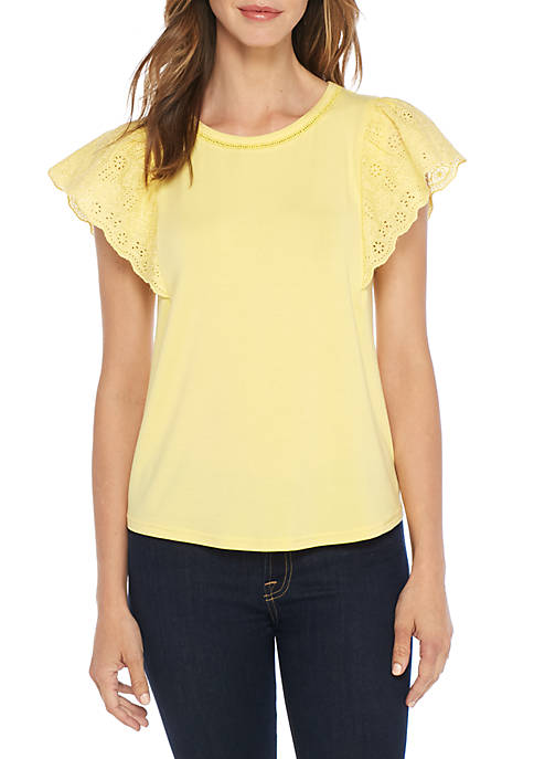 Lace Flutter Sleeve Crew Neck Top